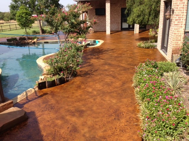 Concrete Staining Residential Backyard